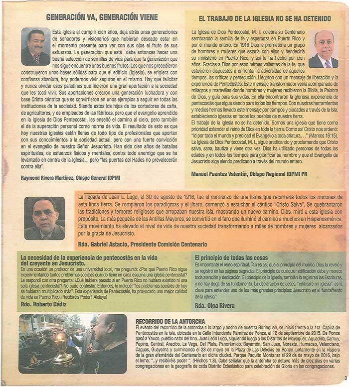 Periodico 100 Años de Pentecostes 1916 2016 Page 3