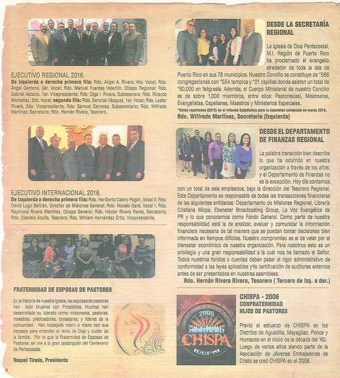 Periodico 100 Años de Pentecostes 1916 2016 Page 4