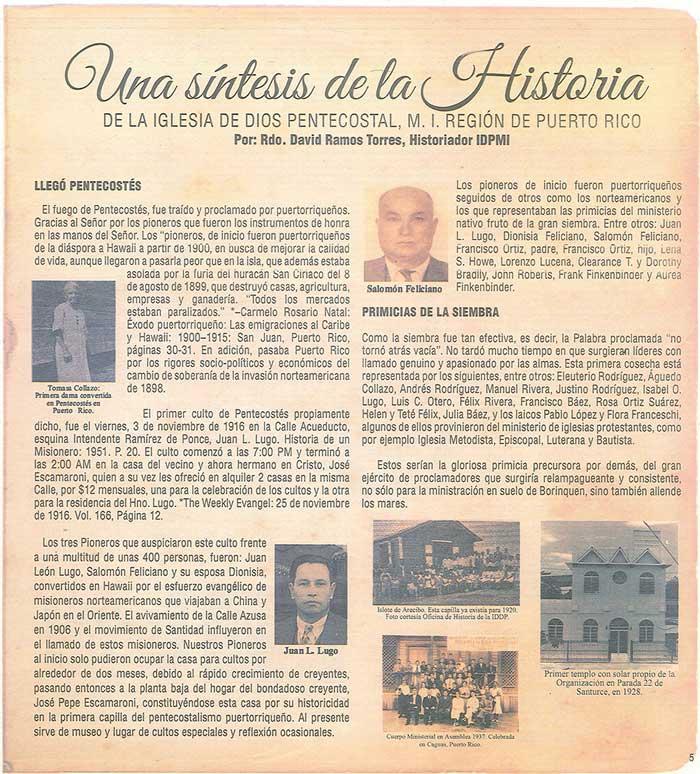 Periodico 100 Años de Pentecostes 1916 2016 Page 5