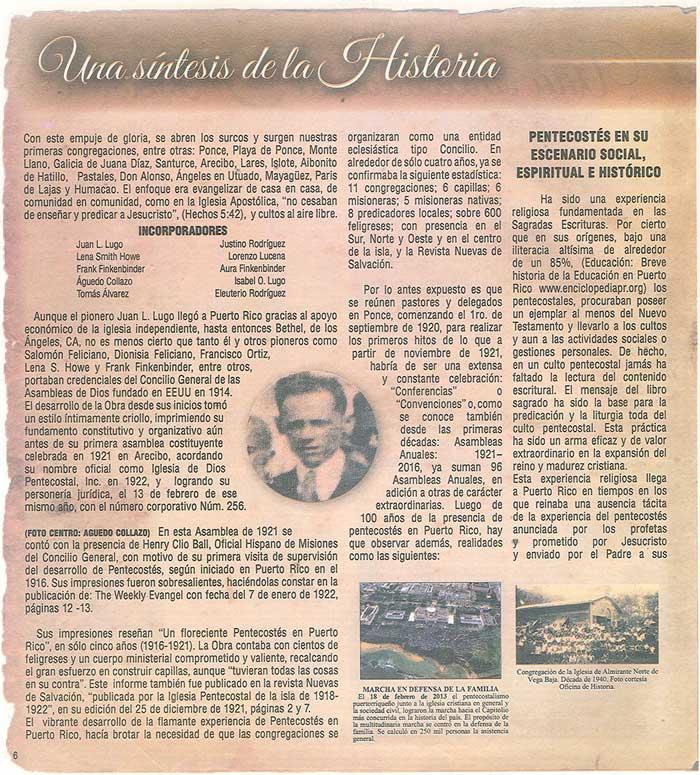 Periodico 100 Años de Pentecostes 1916 2016 Page 6
