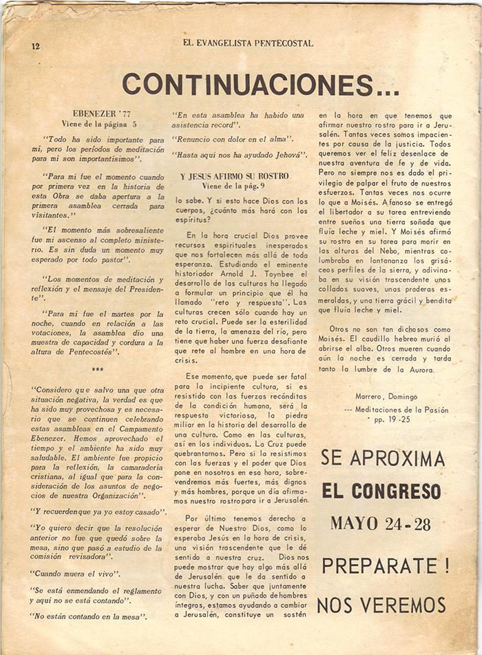El Evangelista Pentecostal Abril 1977 Pagina 12
