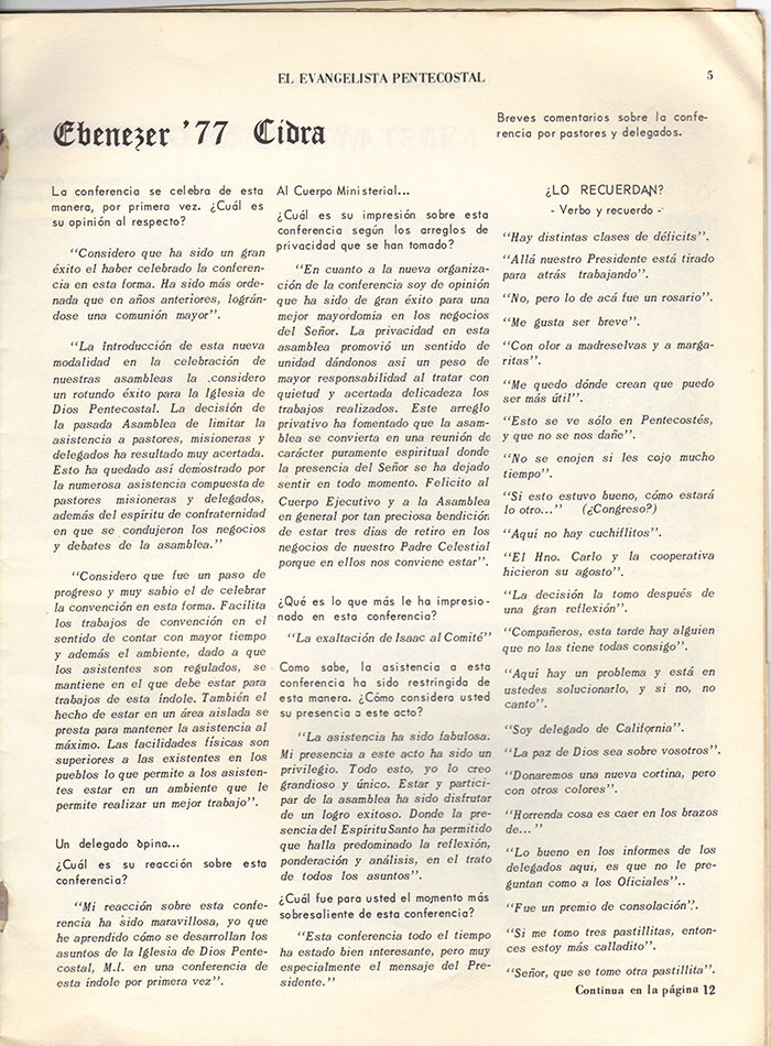 El Evangelista Pentecostal Abril 1977 Pagina 5