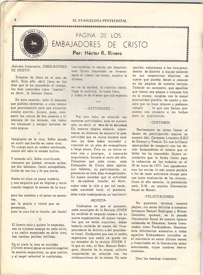 El Evangelista Pentecostal Abril 1977 Pagina 8