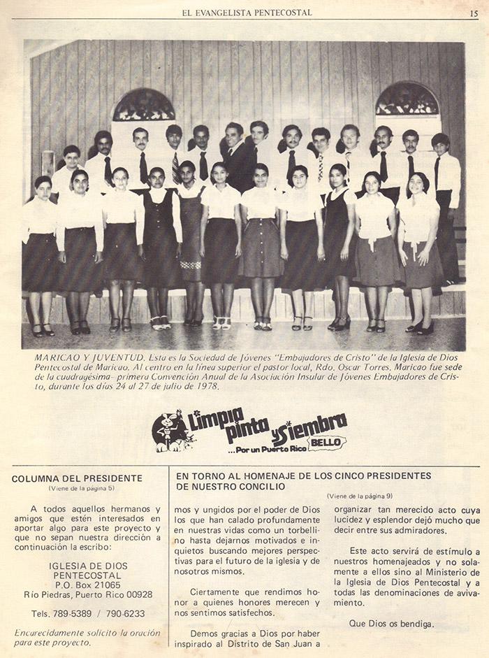 El evangelista Pentecostal (agosto 1978) #8 pagina 15
