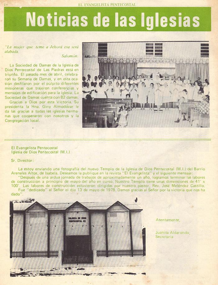 El evangelista Pentecostal (agosto 1978) #8 pagina 16