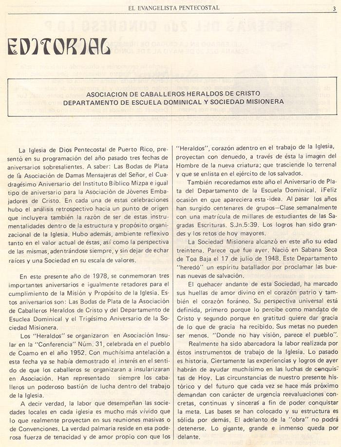 El evangelista Pentecostal (agosto 1978) #8 pagina 3
