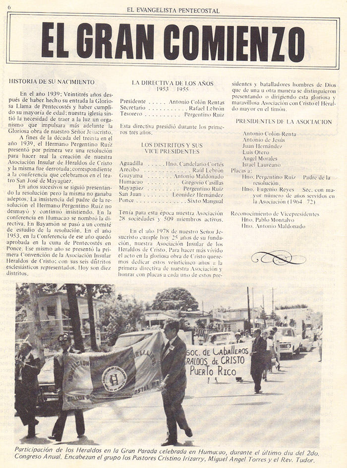El evangelista Pentecostal (agosto 1978) #8 pagina 6
