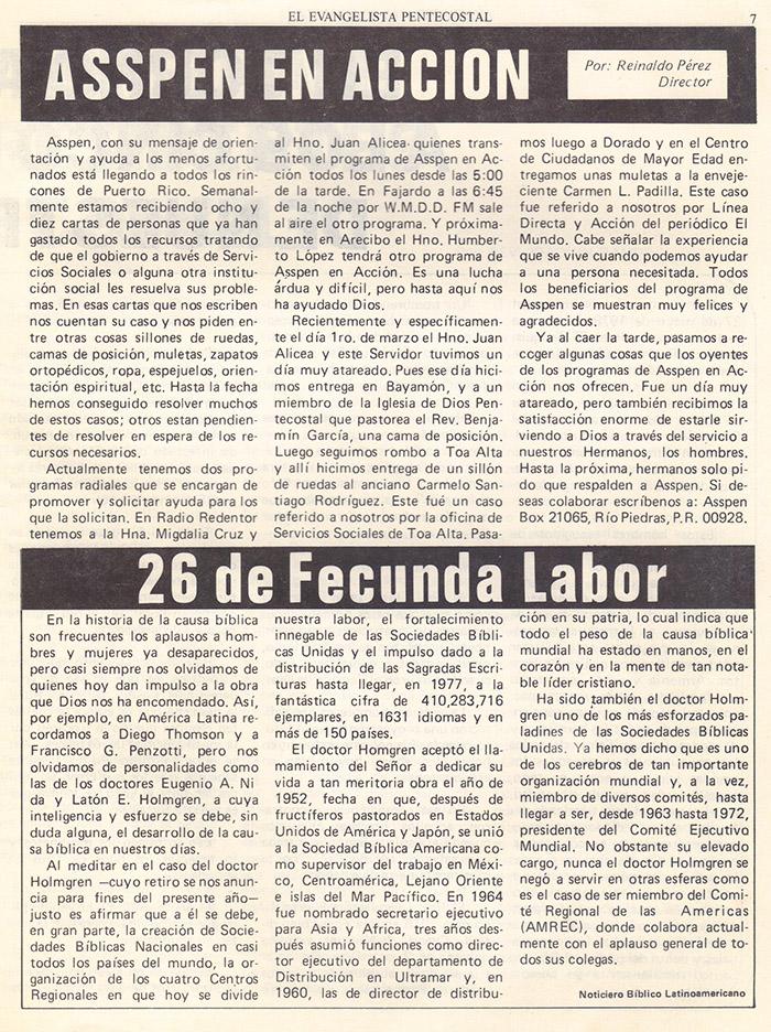 El evangelista Pentecostal (agosto 1978) #8 pagina 7
