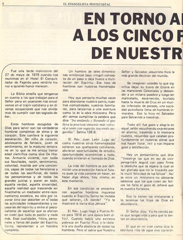 El evangelista Pentecostal (agosto 1978) #8 pagina 8