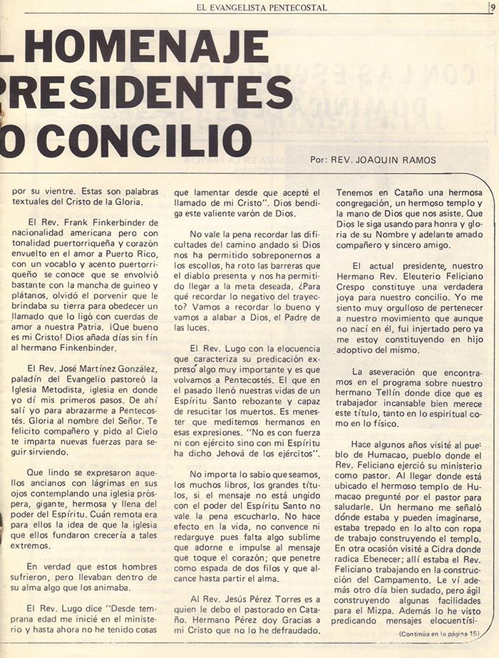 El evangelista Pentecostal (agosto 1978) #8 pagina 9
