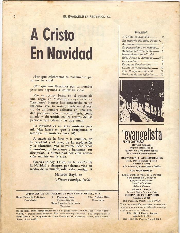 El Evangelista Pentecostal Diciembre 1977 Pagina 2