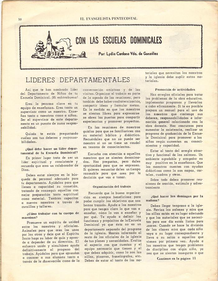 El Evangelista Pentecostal (Julio 1977)-#7 Página 10