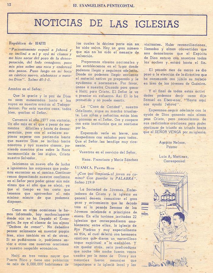 El Evangelista Pentecostal (Junio 1978)-#6 Parte 2 Página 12