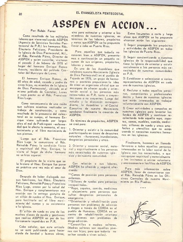 El Evangelista Pentecostal (Mayo 1978)-#4 Página 10
