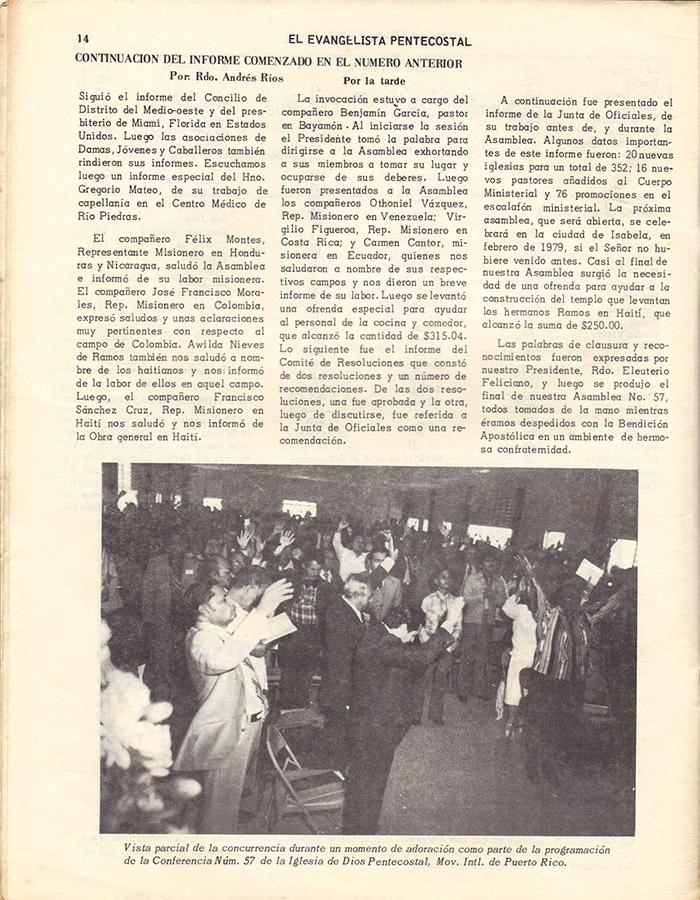 El Evangelista Pentecostal (Mayo 1978)-#4 Página 14