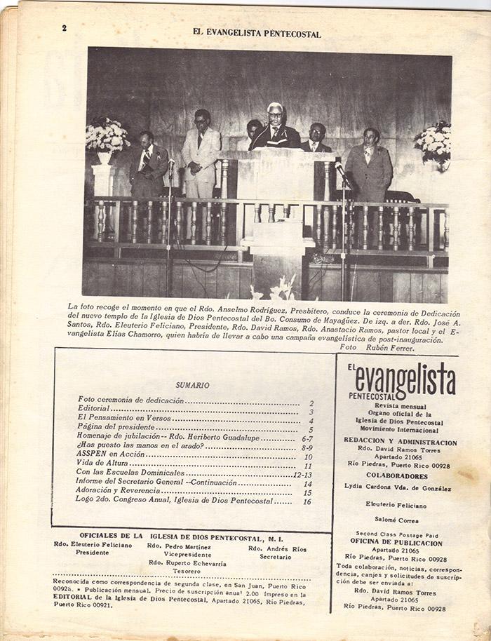 El Evangelista Pentecostal (Mayo 1978)-#4 Página 2