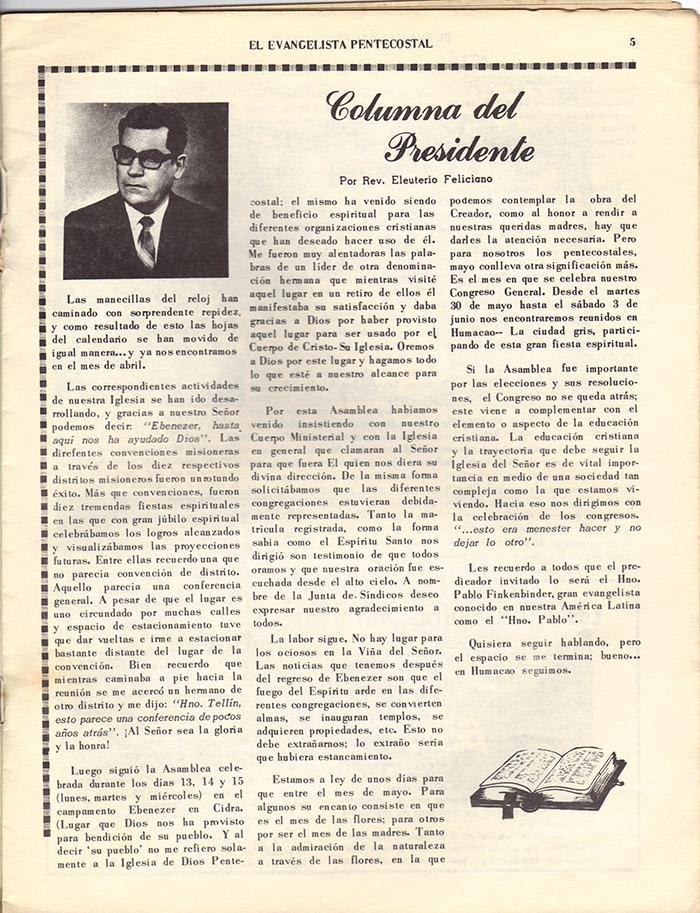 El Evangelista Pentecostal (Mayo 1978)-#4 Página 5