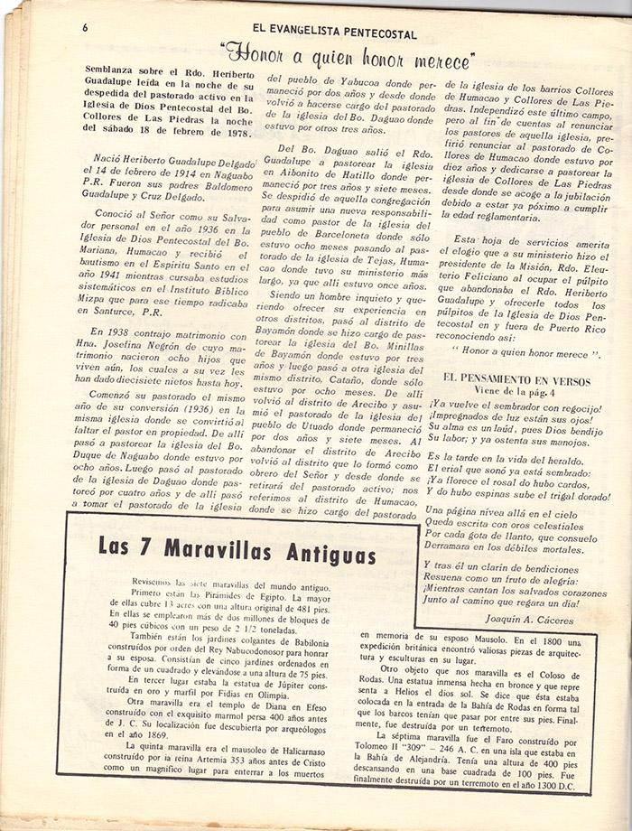 El Evangelista Pentecostal (Mayo 1978)-#4 Página 6