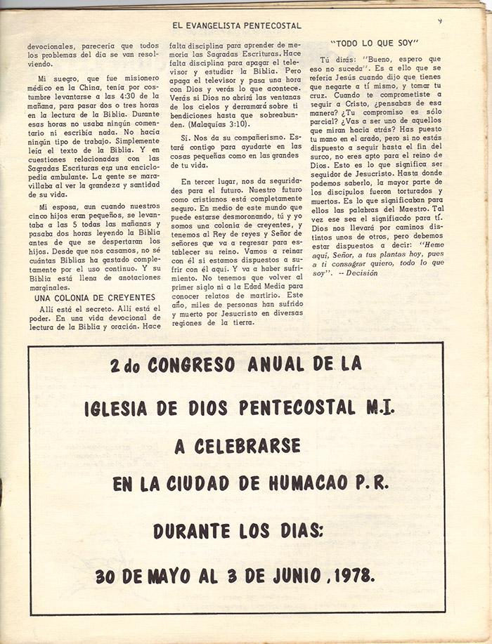 El Evangelista Pentecostal (Mayo 1978)-#4 Página 9