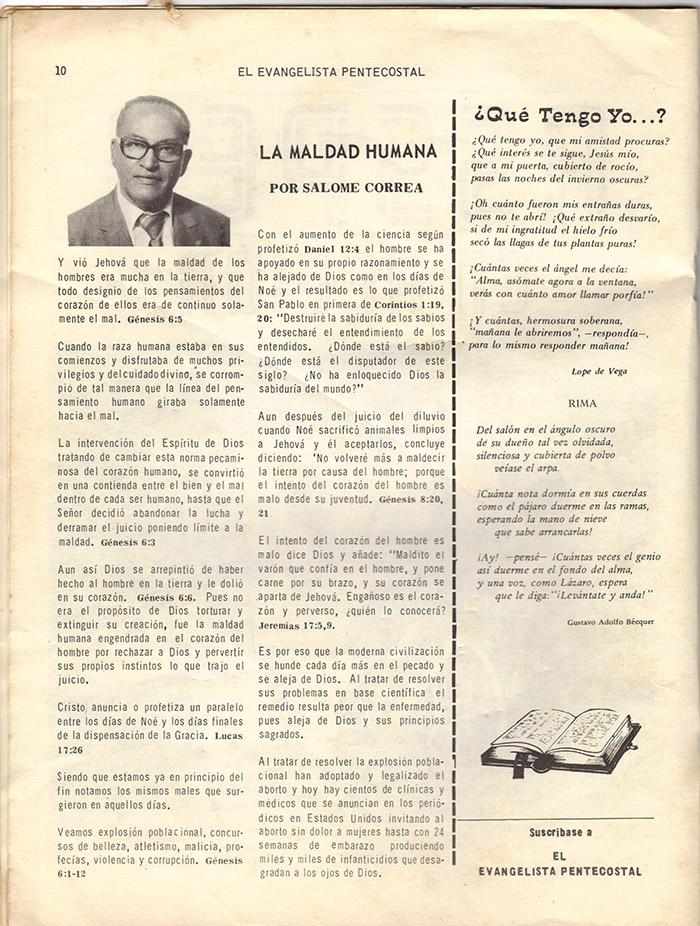 El evangelista Pentecostal (feb 1978)-#2 pagina 10
