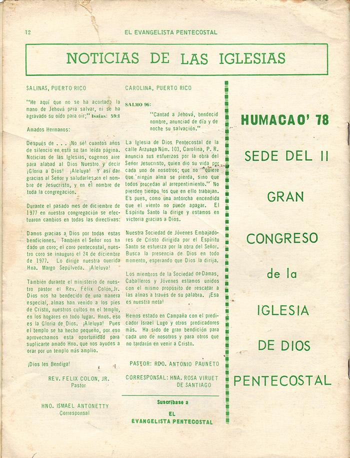 El evangelista Pentecostal (feb 1978)-#2 pagina 12