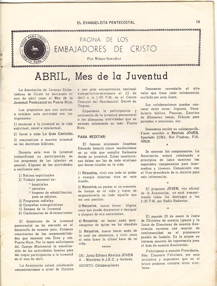 El evangelista Pentecostal (marzo 1978)-#3 pagina 13