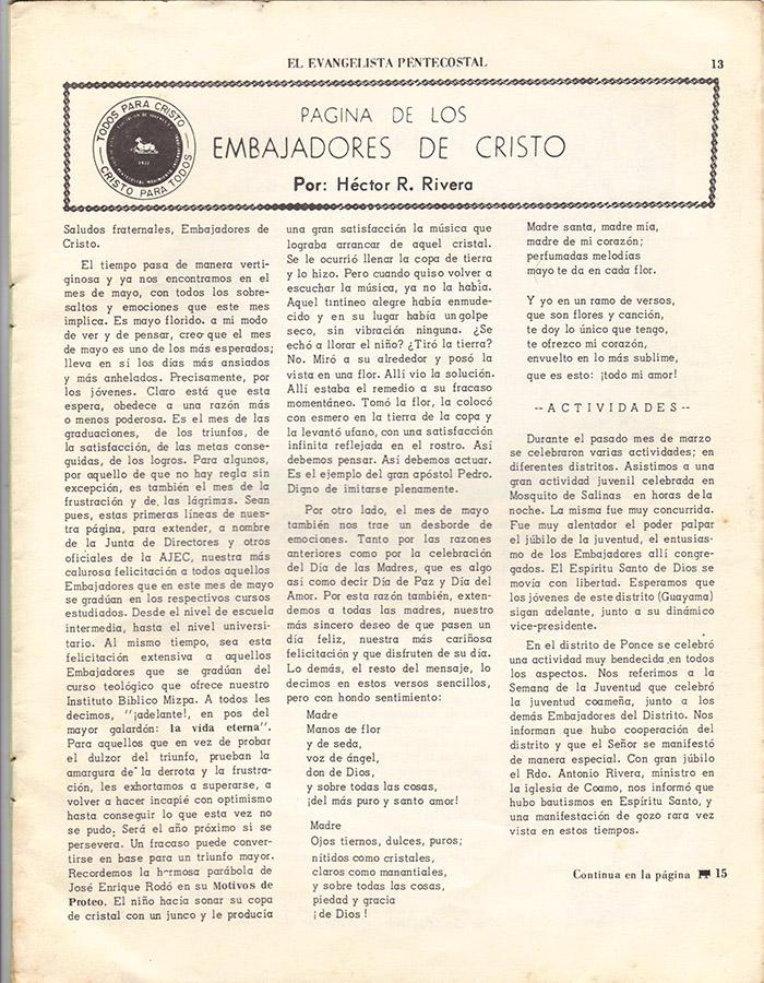 El Evangelista Pentecostal (Mayo 1977)-#5 Página 11