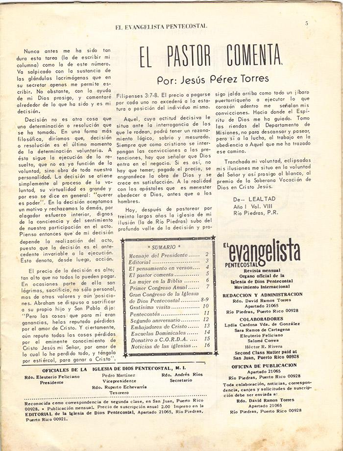 El Evangelista Pentecostal (Mayo 1977)-#5 Página 5