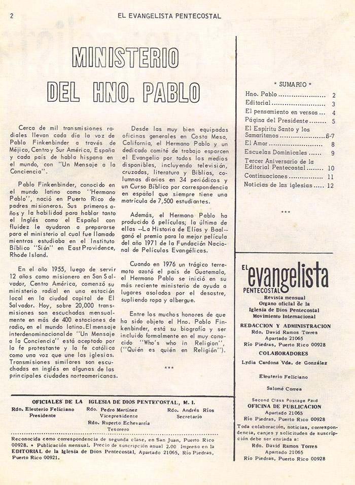 El Evangelista Pentecostal (Mayo 1978)-#5 parte 2 Página 2