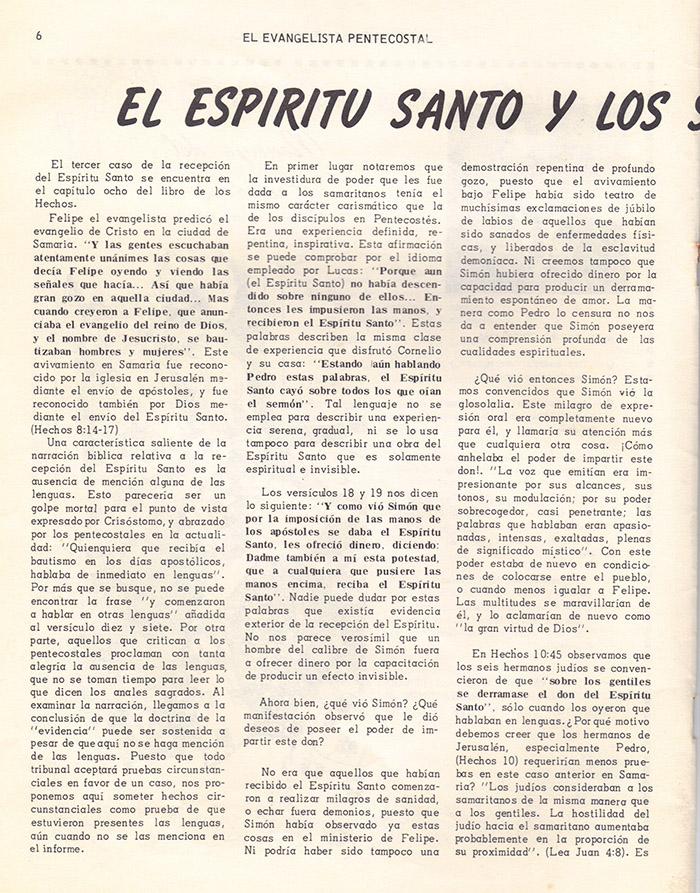 El Evangelista Pentecostal (Mayo 1978)-#5 parte 2 Página 6
